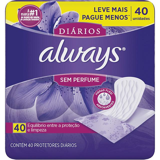 PROTETOR DIARIO ALWAYS S/PERFUME C/40
