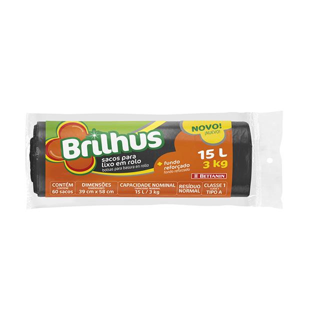 SACO P/LIXO BRILHUS ROLO 15L C/60UN