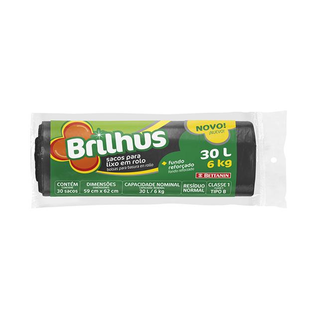 SACO P/LIXO BRILHUS ROLO 30L C/30UN