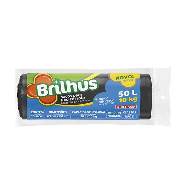 SACO P/LIXO BRILHUS ROLO 50L C/30UN