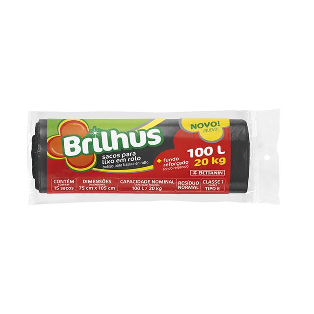 SACO P/LIXO BRILHUS ROLO 100L C/15UN