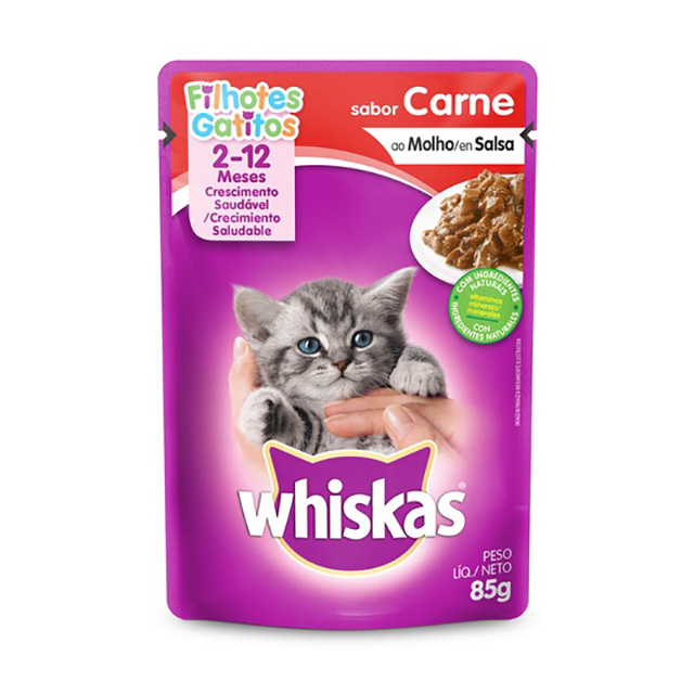 WHISKAS POUCH FILHOTE CARNE 85G