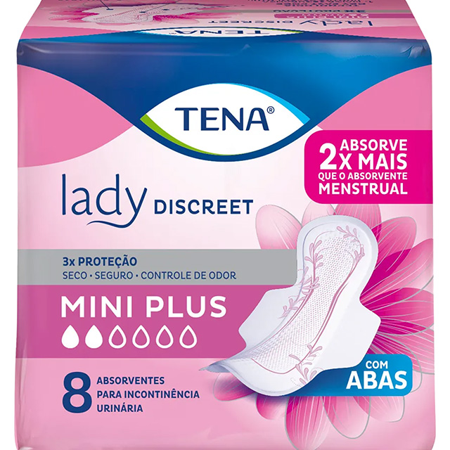 ABSORVENTE TENA LADY DISCREET MINI PLUS C/8UN