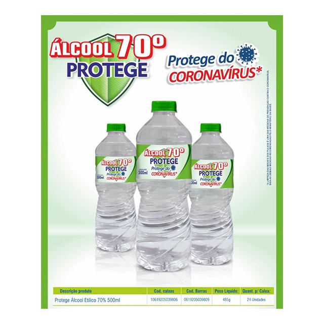 ALCOOL ETILICO PROTEGE 70º 500 ML
