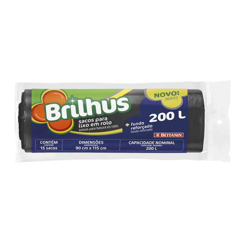 SACO P/LIXO BRILHUS ROLO 200L