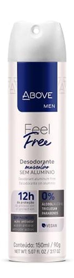 DESODORANTE ABOVE AERO 150ML MASC S/ALU FEEL FREE