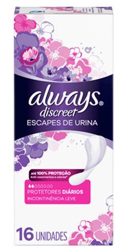 ABSORVENTE ALWAYS DISCREET INCONTINENCIA URINARIA C/16UN