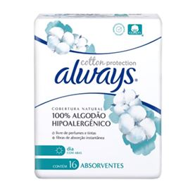 ABSORVENTE ALWAYS DIA ALGODAO NATURAL C/ABAS C/16UN